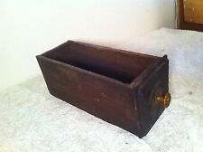 Vtg  Industrial Wood Drawer Parts Bin Shelf letter box brass pull file card box