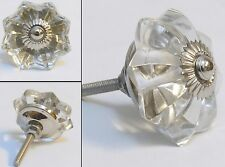 clear  flower shaped cut glass  drawer & cupboard  door knobs chrome  fittings