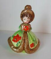Vtg Josef Originals Girl Green Winter Dress Muffler Hat Figurine