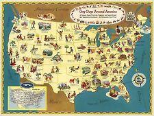1949 PICTORIAL Map Gay Days Around America Festivals Greyhound POSTER 9628003