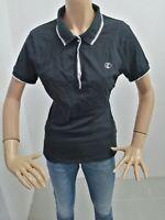 Polo GEOX Donna Taglia Size L T-shirt Woman Maglia Manica Corta Cotone NERA 7981