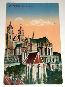 Alte AK +++ Magdeburg - Dom von Osten (1919) +++ gelaufen