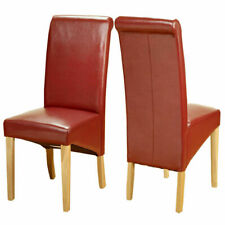 Modern Red Faux Leather PU Dinging Chairs Scroll High Back Oak Wood Legs Kitchen