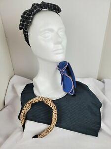 Headbands Lot Of 3. Leopard  Print, Black & White Check, Blue / Pink Trim