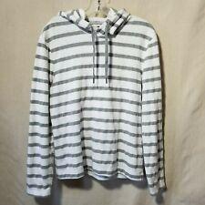 Banana Republic Hoodie S Gray White Stripes Pullover Draw String Hood LS