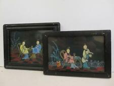 More details for really old paintings pictures framed oriental pair