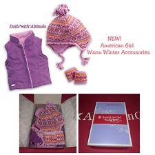 "American Girl Warm Winter Accessories for 18"" Dolls Ski Snow Hat Vest NEW!"