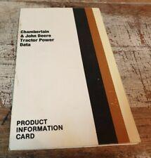 1986 JOHN DEERE & CHAMBERLAIN Tractor Product Information Card