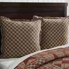 DAWSON STAR Fabric Euro Sham Brown/Khaki Cotton Plaid Ruffle Lodge Rustic 26x26