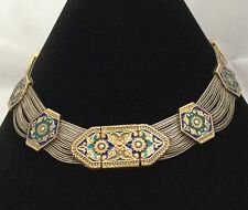 """Bali 925 Sterling Silver Gold Tone Enamel Section Chain 16"""" Collar Necklace"""