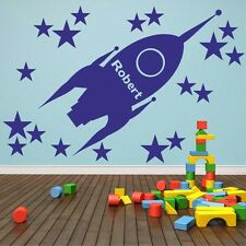 Rocket Ship With Personalised Custom Bespoke Name Wall Sticker Space Boys | NA2