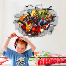 3D Marvel's Avengers Movie Through Wall Stickers For Kids Room Wall Decals