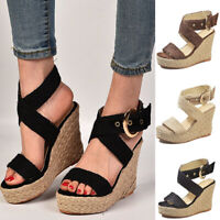 Womens Wedge Heel Ankle Strap Espadrilles Sandals Casual Buckle Shoes Size 6-9