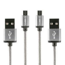 Micro USB Kabel,[2Pack 2M] Nylon Micro USB Schnellladekabel für Samsung - Silber