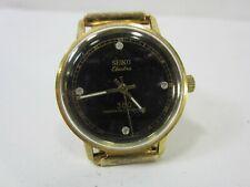 "Seiko Electra 360 Black Face ""Diamond"" Marker Men's Wrist Watch"