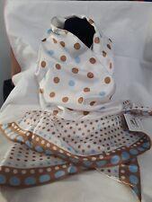 NWT ROMANO diagonal polyester polka Dot scarf blue brown dots