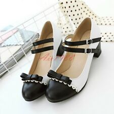 UK 1-10.5 Women Sweet Court Shoes Mary Janes Ankle Strap Pumps Bow Brogues Shoes