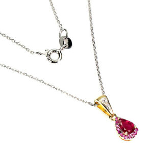 Pear Red Ruby 6x4mm 1p Diamond 14K Gold Plate 925 Sterling Silver Necklace 18ins