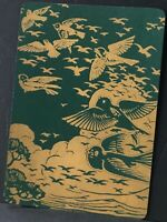 Playing Cards 1 Single Card Old Antique Wide JAPANESE LACQUER Green BIRDS FLYING