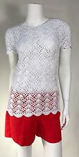 NWT Michael Kors Woman Knitted Crochet Short Sleeve Top White SZ S  $160