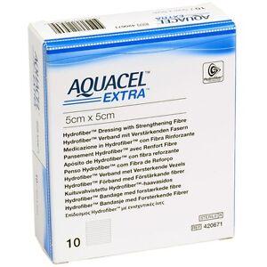 "Aquacel Extra 5 x 5cm (2 x 2"") wound dressing x10"