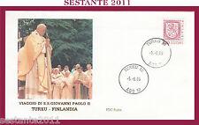 W201 VATICANO FDC ROMA VISITA PAPA GIOVANNI PAOLO II FINLANDIA TURKU 1989