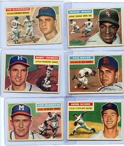 LOT OF (28) DIFFERENT 1956 TOPPS BASEBALL STARS / SEMI-STARS, VG/EX CONDITION