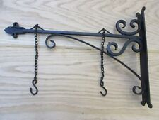 "14"" BLACK HAND FORGED  iron sign board hanging bracket shop sign house name"