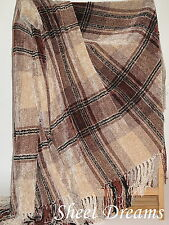 Churchill Weavers Berea Handwoven Chenille Sand Rosewood Black Throw Blanket Tag