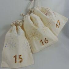 Adventskalender zum selbst befüllen handbemalt Schneeflocken 24 Zugband-Säckchen