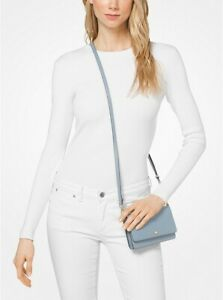 Michael Kors Pebbled Pale Blue Leather Phone Crossbody Bag