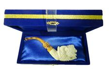 Lion Head in Claw Meerschaum Pipe Handmade With Case White-ish Tobacco Pipe