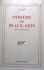 ALAIN/SYSTEME DES BEAUX ARTS/EDITION NOUVELLE/NRF/1948
