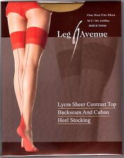 ONE SIZE VINTAGE PIN UP RETRO LOOK NUDE RED CUBAN HEEL STOCKINGS BY LEG AVENUE