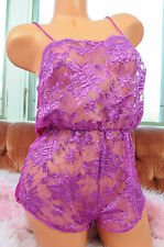 Vtg Samye Fuschia Embroidered Lace Front Sissy Snap Crotch Teddy Romper Slip M