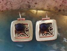 Pendiente Cuadrado Lapislázuli Azul Piedra De Amistad Plata Esterlina 925