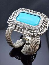 Chunky Blue Rectangle Shape Crystal Silver Chain Pendant Mesh Metal Bracelet