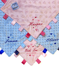 Personalised Embroidered Baby Comforter Taggy Blanket Satin Tags Baby Gift