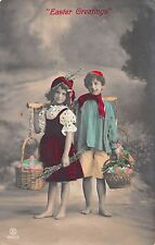 Easter Greetings Children Egg Baskets Tinted Real Photo Antique PC (J27200)