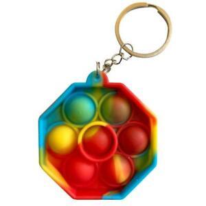 Multicoloured Sensory Popper pop it fidget sensory toy octogen coin mini Keyring