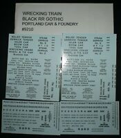 P C & F, WRECKING TRAIN, BLACK RR GOTHIC HO SCALE DECALS, 100-H-9210
