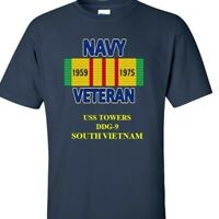 USS TOWERS  DDG-9  NAVY VIETNAM CAMPAIGN RIBBON & VINYL SHIRT/SWEAT