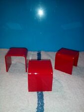 ACRYLIC DISPLAY STAND / RISER RED   2 X 2 X 2    3 PCS SET ELEGANT ACRYLIC