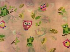 """Rare cute owl leaves tree branch moon chiffon fabric on pink, 58"""" wide, sold BTY"""
