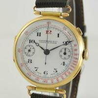 oversized Eberhard & Co. 18 kt Gold tirst Wrist Chronograph Monopusher ca. 1915