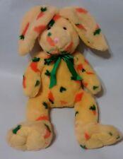 """Petting Zoo Plush Bunny Yellow With Carrot Print Fur Green Orange 15"""" Rabbit"""