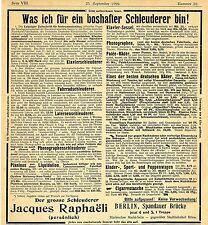 Jacques Raphaeli Berlin S.* boshafter Schleuderer * Historische Reklame von 1899