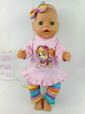 """Dolls clothes for 17"""" Baby Born~16"""" CPK doll~PAW PATROL SKYE~ PINK TOP~LEGGINGS"""