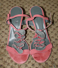 BODEN Pink Gray Suede Leather Ruffle Detail Sandals Heels Shoes 38 7.5 8 8.5