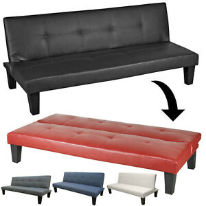 3 Position Modern Sofa Bed Living Room Bedroom Fabric Leather Click Clack Wooden